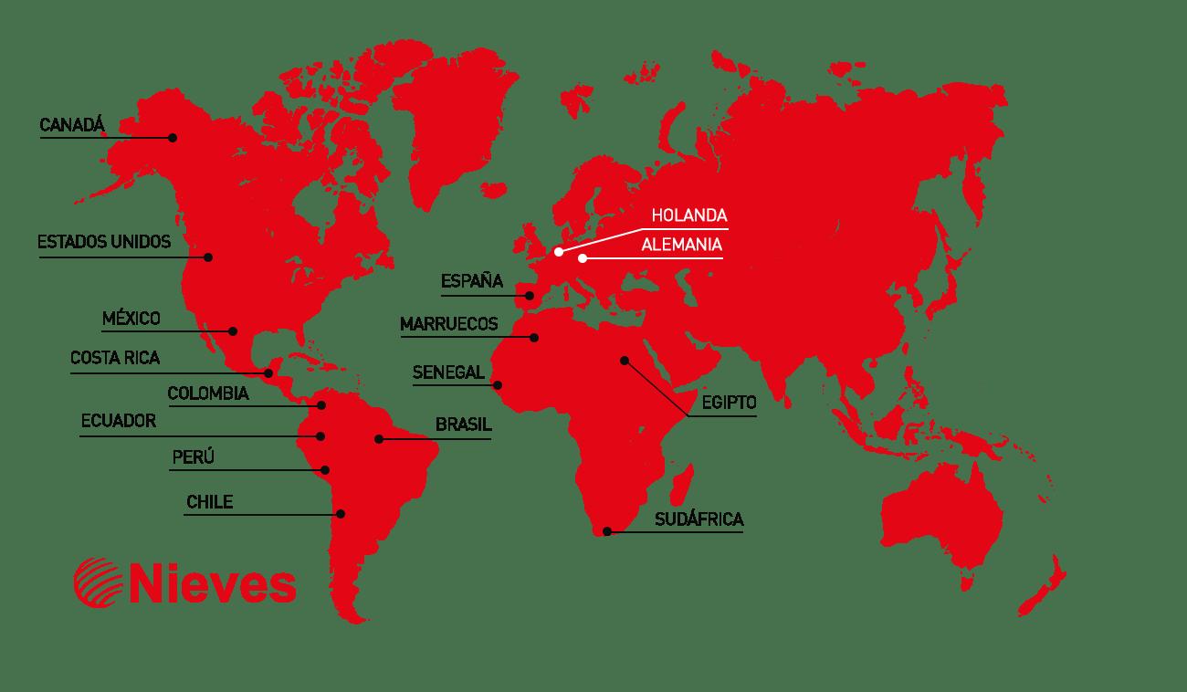 Mapa internacional nieves - Mapa de Exportación Transportes Nieves en todo el mundo